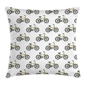 Pillow Case Vintage Bicycle Print Cover No Insert